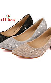 Women's Shoes  Chunky Heel Heels/Pointed Toe Pumps/Heels Dress/Casual Black/Silver/Gold