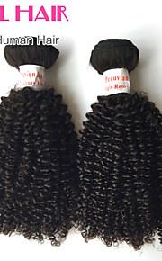 """1шт / много 12 """"-26"""" перуанский странный вьющиеся волосы девственницы утки цвет 1b # человеческих волос Weave пучки запутывает свободно"""