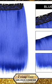 Ombre клип в прямой наращивания волос синтетические парики синий
