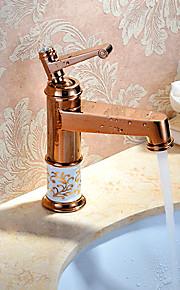 Переходный розового золота латунь Смеситель раковина кран бассейна горячей и холодной одной ручкой ванной