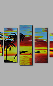 handmålade oljemålning på duk vägg konst abstrakt contempory marinmålning dophins fem panel redo att hänga
