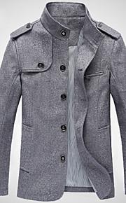 Jacke ( Blau/Braun/Grau , Polyester ) - für Freizeit - für MEN - Einfarbig - Lang