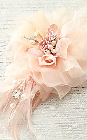 Women's Feather/Imitation Pearl/Fabric Headpiece - Wedding/Special Occasion/Casual Flowers 1 Piece