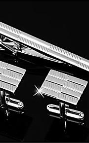 Men's Engravable Silver Plain Musical Note Pattern Cufflinks and Tie Bar Clip Clasp(1 Set)