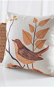 Bird Pattern Cotton/Linen Decorative Pillow Cover
