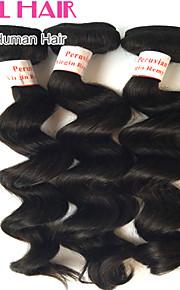 """3шт / много 8 """"-30"""" перуанский свободная волна девственные волосы утки натуральный черный 1b # человеческие волосы плести пучки запутывает"""