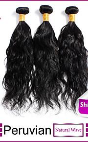 3шт / много перуанских девственных волос естественная волна необработанный перуанский девственные волосы утка человеческих волос
