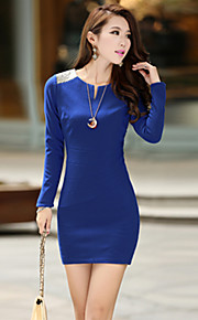 Women's Patchwork Blue / Red / Black Dress , Sexy / Bodycon / Casual V Neck Long Sleeve