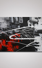 håndmalte moderne abstrakt rød og svart og hvit oljemaling på lerret klar til å henge
