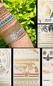 5pcs Body Art Temporary Tattoos Gold Silver Black Flash Metallic Tattoo Sticker Women Jewelry Waterproof Guns Eagles