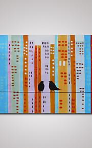 håndmalede abstrakt by bygning og to fugle oliemaleri på lærred klar til at hænge