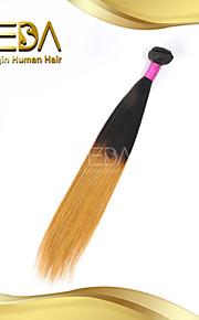 хорошие недорогие монгольские девственные человеческого шелковые волосы прямые волосы Ombre расширения 2 тон 1b / 27 цвет 1шт только 8 ''