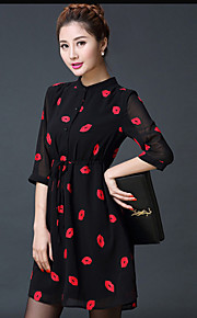 Women's Character Black Dress , Casual / Party / Plus Sizes Stand ¾ Sleeve