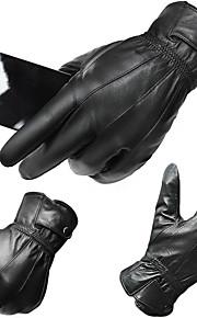 Guantes Ciclismo / Bicicleta Hombres Dedos completos Mantiene abrigado / A prueba de viento / Piel de Cordero Otoño / Invierno Negro