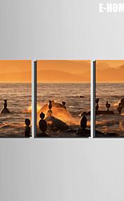 E-Home® Leinwand Kunst schwimmt auf dem Meer Dekoration Malerei Set von 3