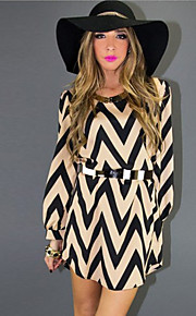 Women's Geometric Black Dress , Casual / Plus Sizes Round Neck Long Sleeve