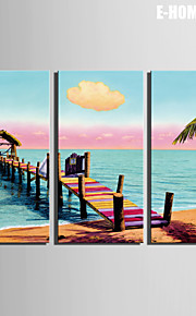 e-Home® sträckta canvas konst stranden stranden liten flotte dekoration målning uppsättning av 3