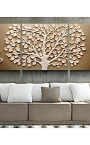 Relief  Modern Three Panel Rich Tree Background Wall Paint Ready to Hang