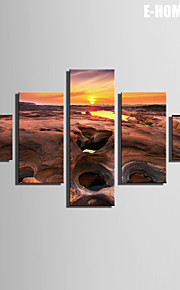 E-HOME® Stretched Canvas Art Stone Beach Under The Setting Sun Decorative Painting  Set of 5