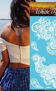 King Horse® White Tattoo Stickers  Non Toxic/Hawaiian/Waterproof Flower Series Paper 5pcs 20.5*10cm Henna