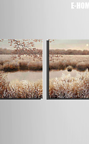 E-HOME® Stretched Canvas Art Scenery of The Small Pool Decorative Painting  Set of 2