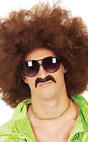 varma mäns high fashion festival peruk naturliga bruna lockar