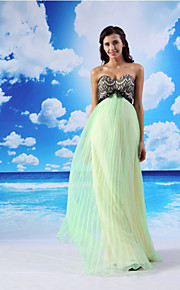 Formal Evening Dress - Sage A-line Sweetheart Floor-length Lace/Organza/Satin