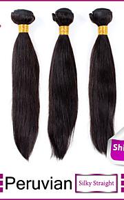 3шт Перу пучки волосков ткет натуральный черный прямые волосы утка 100% необработанного перуанских уток человеческих волос