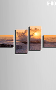 E-HOME® Stretched Canvas Art The Waves Beat The Shore Decoration Painting  Set of 4