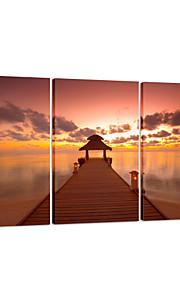 visuelle star®sea coucher de soleil toile tendue impression 3 pannel pont mur art prêt à accrocher
