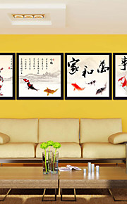 Drawning Room Chinese Frames Wall Art Wood Frame with Canvas with Plastic Organic Glass 4Pieces/set