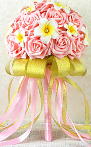 Pink and Yellow Round Roses Bouquets Wedding Flowers