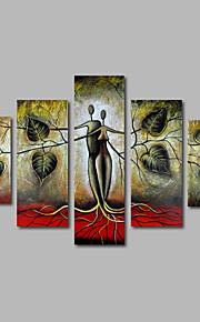 håndmalede olie maleri på lærred væg kunst landskab træer abstrakte moderne hjem deco fem panel klar til at hænge