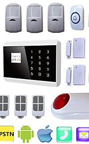 gsm pstn inbreker anti diefstal inbreker huis beveiliging alarmsystemen simkaart alarma systeem android + draadloze stroboscoop sirene
