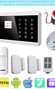 ios android app lcd Smart Touch draadloze bedraad gsm PSTN sms binnenlandse veiligheid gesproken inbreker alarmsysteem met rookmelder