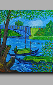 Ready to hang Stretched Hand-Painted Oil Painting Canvas Abstract Van Gogh repro Boats Trees One Panel
