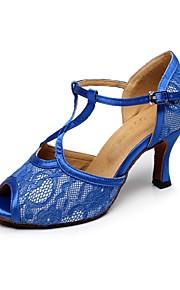 Zapatos de baile ( Azul ) - Danza latina - No Personalizable - Tacón Luis XV