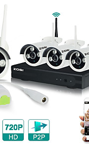 zosi®4ch CCTV-system 720p hdmi NVR 4stk 1,0 mp IR udendørs p2p trådløs ip CCTV kamera sikkerhedssystem overvågning kit