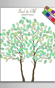 E-HOME® Personalized Fingerprint Painting Canvas Prints -Two Trees (Includes 12 Ink Colors)