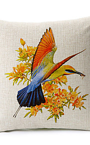 Country Style Bird Pattern Cotton/Linen Decorative Pillow Cover