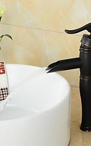 centerset בציר ברז עתיק גימור ברונזה שמן משויף בידית אחת פליז כיור אמבטיה - שחור