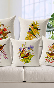 Set of 5 Country Style Birds Love Cotton/Linen Decorative Pillow Cover