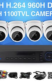yanse® 1100tvl 2.8mm 4CH CCTV-kameraer seystem DVR kit ir farve vandtæt overvågningskameraer d / n (8-kanals 960h hdmi DVR)