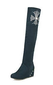 Women's Shoes Leatherette Wedge  / Round Toe Boots Outdoor / Office & Career / Casual Black / Blue / Green / Burgundy
