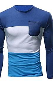 Katoen / Polyester - Gestreept / Effen - Heren - T-shirt - Informeel / Werk / Formeel / Sport / Grote maten - Korte mouw