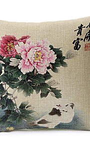Spring Fower Pattern Cotton/Linen Decorative Pillow Cover