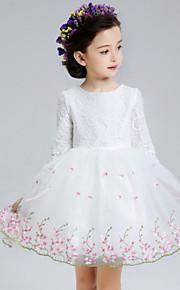 A-vonalú Rövid / mini Virágoslány ruha - Csipke / Organza Háromnegyedes Ékszer val vel