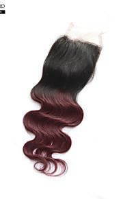 """1 шт 12-дюймовый швейцарский шнурок индийские волосы верхнее закрытие натуральный черный # 1b объемная волна 4 """"x4"""" закрытие размер"""