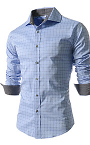 Men's Long Sleeve Shirt , Cotton / Polyester Work / Formal Plaids & Checks