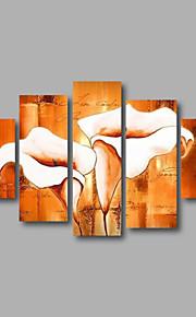 listo para colgar arte de la pared de la lona estirada enmarcado pintado a mano la pintura al óleo blancas flores de lis modernas cinco